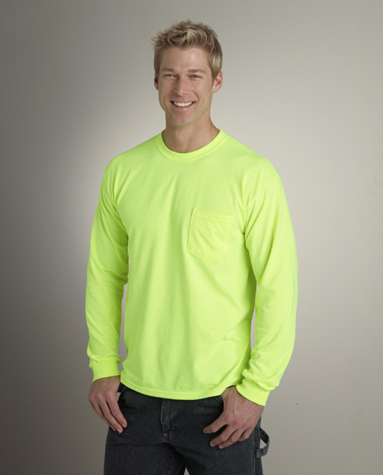 Gildan Style 2410 Ultra Cotton Adult Long Sleeve T-Shirt with Pocket